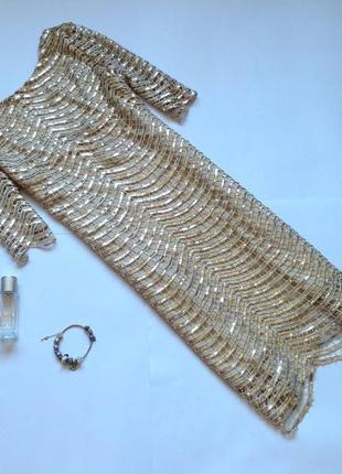 Золотистое платье в пайетки прямого кроя. смотрите мои объявления!