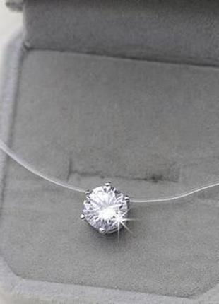 Скидка!новый камушек,цирконий на леске,ожерелье невидимое серебро,кулон,подвеска,микродерм