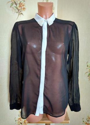 Шифоновая рубашка, воротник украшен бусинами