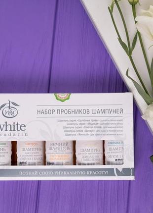 Набор пробников шампуней в коробке white mandarin (5x30ml)