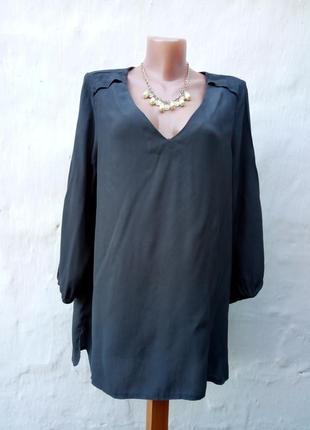 Красивая графитовая блуза свободного кроя с зади длиней,большой размер,рубаха.