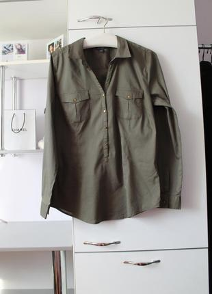 Стильная рубашка цвета хаки от amisu
