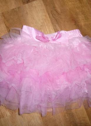 Пышная розовая юбка на 7-8 лет disney длина 35 см пот 28 , сзади резинка