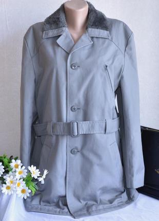Брендовый мужской серый утепленный коттоновый тренч с поясом на меховой  подкладке hodges 7d320b6866118