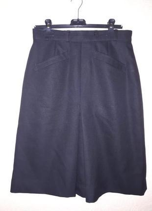 Практичная шерстяная юбка миди на осень зиму плиссе спереди с карманами. англия