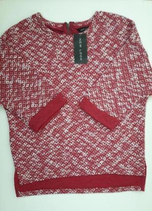Модная кофта рукав 3/4 сзади на маленькой молнии бренда new look