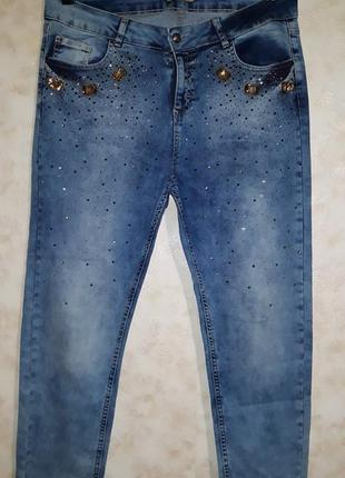 Крутые джинсы стиль кэжуал по щиколотку