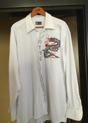 Рубашка с вышивкой дракона и иероглифами