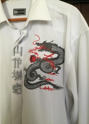 Рубашка с вышивкой дракона и иероглифами3