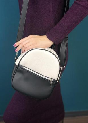Маленький черный рюкзак- сумка трансформер из экокожи