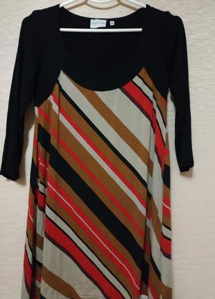 Классная  удлинённая трикотажная туника- платье, размер 40-42