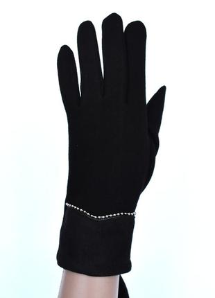 Женские трикотажные перчатки с сенсорными пальчиками на флисовой подкладке
