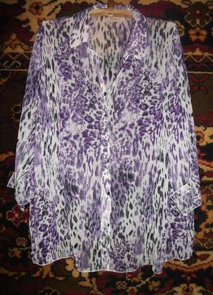 Блузка сиреневая ,тигровая  большого размера