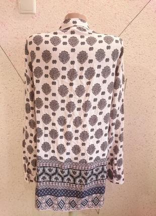 Натуральная блуза рубашка с орнаментом