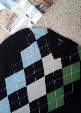 H&m l.o.g.g шерстяной свитер/джемпер принт аргайл