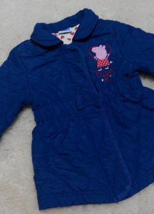 Стеганное пальтишко peppa pig на девочку 1-2 годика