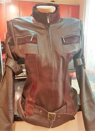 Натуральная кожаная куртка винного цвета