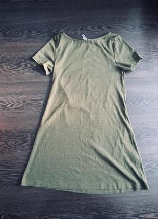 Короткое платье цвета хаки в рубчик h&m
