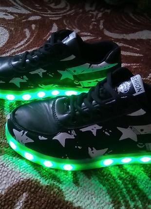 Светящиеся кроссовки  led 38роз.24см по стельке