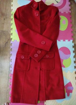 Пальто шерстяное красное