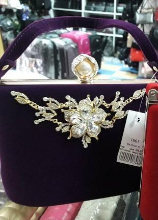 Клатч сумочка вечерняя женская велюровая фиолетовая
