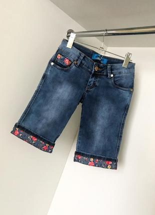 Женские удлиненные синие джинсовые шорты низкая посадка, поткаты цветочный принт