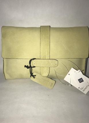 Новая кожаная сумка- клач- косметичка- кошелёк gap