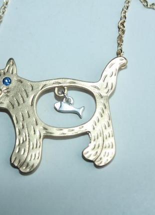 Подвеска новая на цепочке кошка, кот с рыбкой в животе (серебро, золото) (к021- к022)