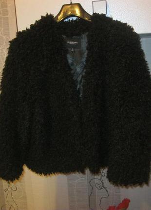 Стильная меховая куртка-бомбер кардиган на межсезонье овечка букле л-хл