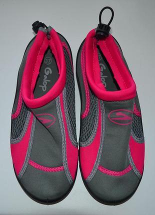 """Акваобувь женская """"galop"""" для плавания тапочки для кораллов и моря черные с розовым"""