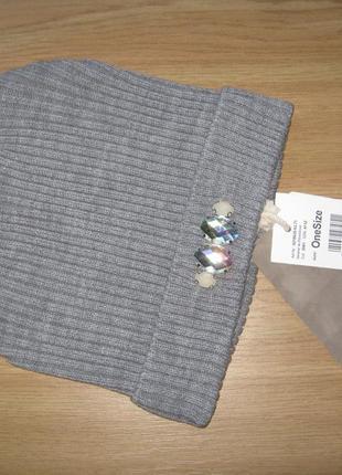 Женская теплая шапочка со стразами tom tailor германия one size новая