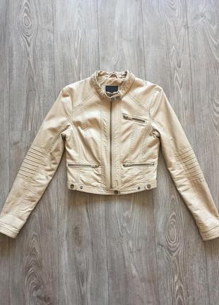 2766e5c1b05 Бежевая куртка кожаная  экокожа