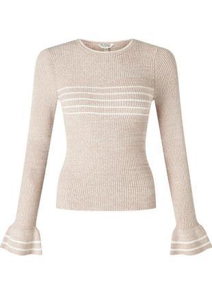 Стильная кофта в рубчик с крутыми рукавами,  джемпер,  свитер
