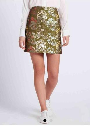 Супер модная юбка мини трапецией из жакарда