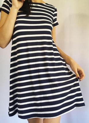Платье в полоску с коротким рукавом