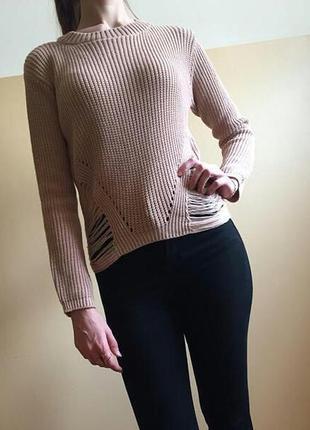 Нежный пудровый свитер тонкой вязки от  selected femme