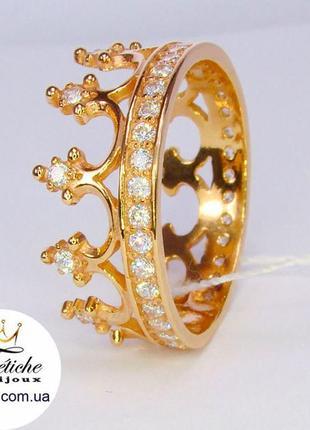 Кольцо корона серебро 925 пробы, позолота