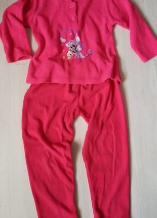 Теплая флисовая пижама девочке 3-5 лет