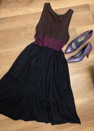 Оригинал dkny donna karan тёмное струящееся платье миди за колено
