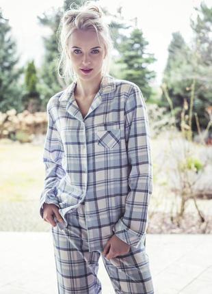 Теплая фланелевая пижама в клетку 443 от key польша