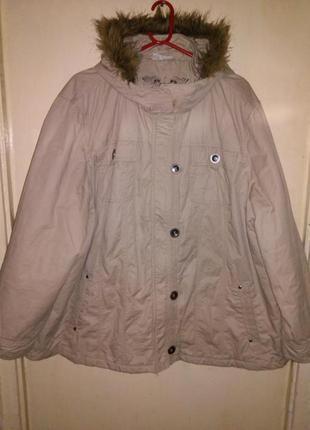 Натуральная,модная,демисезонная куртка-парка, ог 144см,бол.р.,jessica c&a и 90%батал