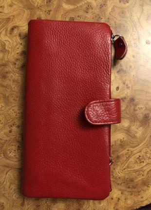 Женский кошелек из натуральной кожи двойной красный