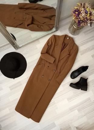 Шикарное длинное теплое двубортное пальто цвета кэмел 100% wool + шарф в подарок ❤️