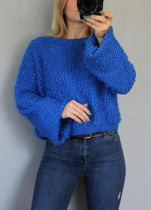 🖤primark очень крутой синий свитер с объемными рукавами