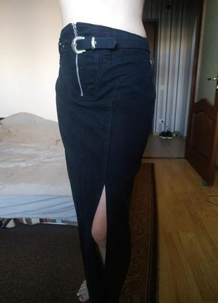 Черная длинная плотная юбка с распоркой на молнии 12-14 р италия !скидка-15%!!