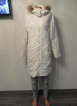 Пальто на синтепоне с мехом, капюшон,длинное, демисезон зима 46/48