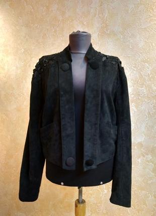 Шикарная замшевая куртка вышивка
