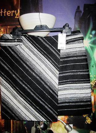Теплая стильная твидовая юбка на запах от george новая с бирками