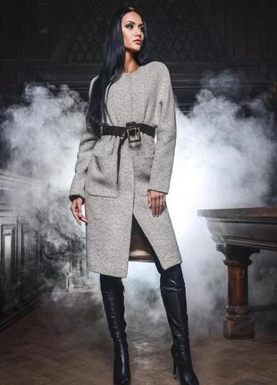 Стильное пальто миди прямого кроя x-woyz