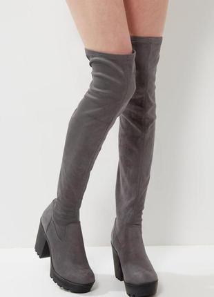 Шикарные серые замшевые ботфорты-чулки на среднем устойчивом каблуке new look